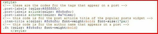 Google Blogger Blog - Part of the HTML codes that appear in the <style> </style> section of the template