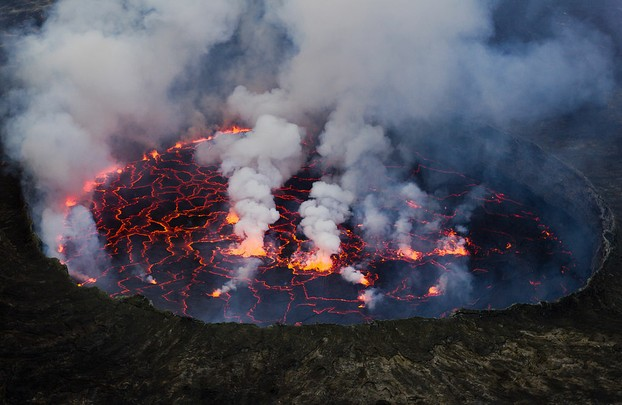 Lava Lake of the Nyiragongo Volcano in Virunga National Park in eastern Democratic Republic of the Congo