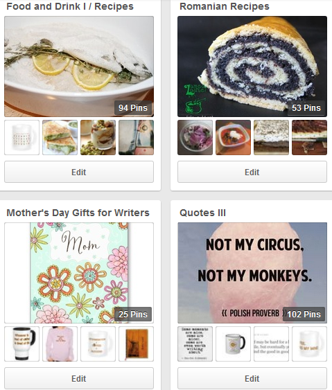 Four of My Boards on Pinterest