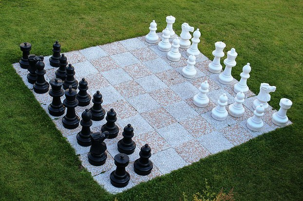 Chess Game in the Garden