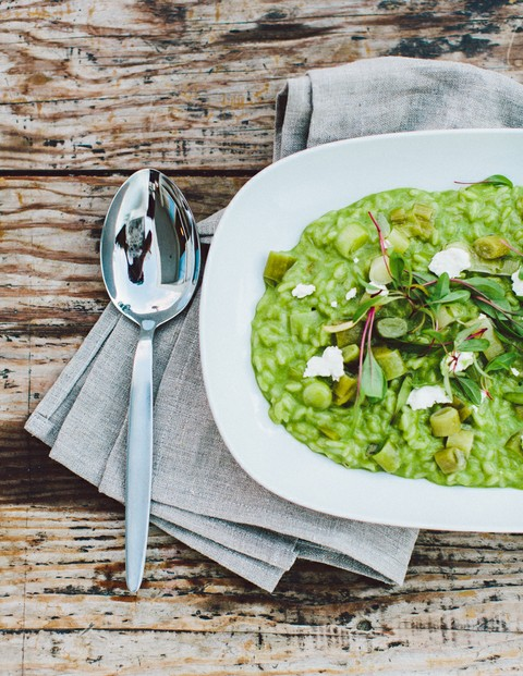 Spring Risotto with Leeks and Goat Cheese