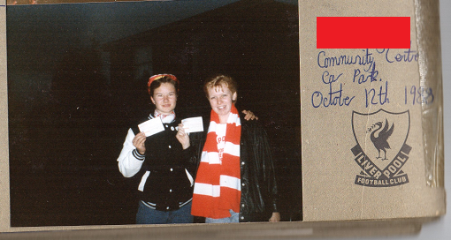 Image: Me and a friend with Liverpool match tickets October 1988
