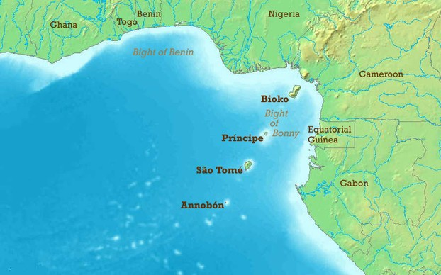 Map of Gulf of Guinea, showing chain of islands -- including Bioko -- formed by Cameroon line of volcanoes.