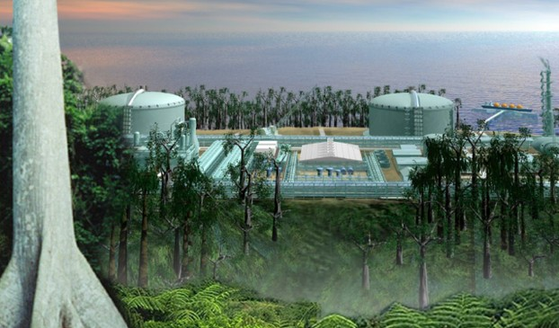 CGI view of LNG (liquified natural gas) plant operated at Malabo by EG LNG (also known as Punta Europa LNG)
