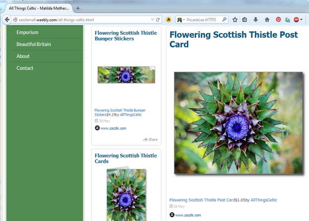 Image: Weebly site with fully functional Zazzle RSS Feed