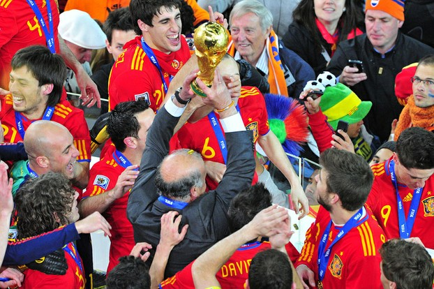 Spain celebrate their 2010 victory