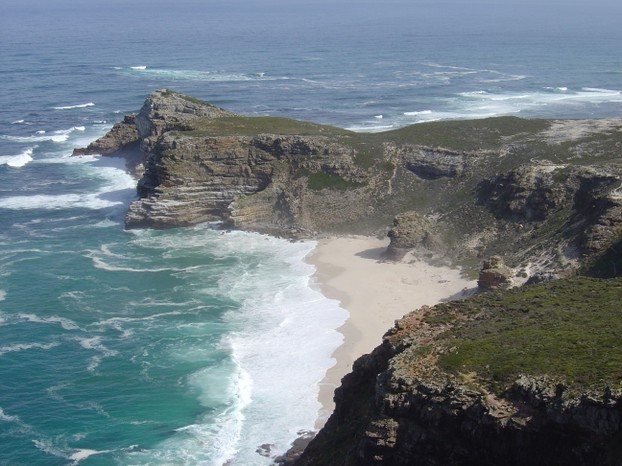 View of Cape of Good Hope, from Cape Point: looking west, from coastal cliffs above Cape Point, overlooking Dias beach