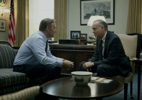 Frank Underwood (Spacey) and Rep. Blythe (Birney)