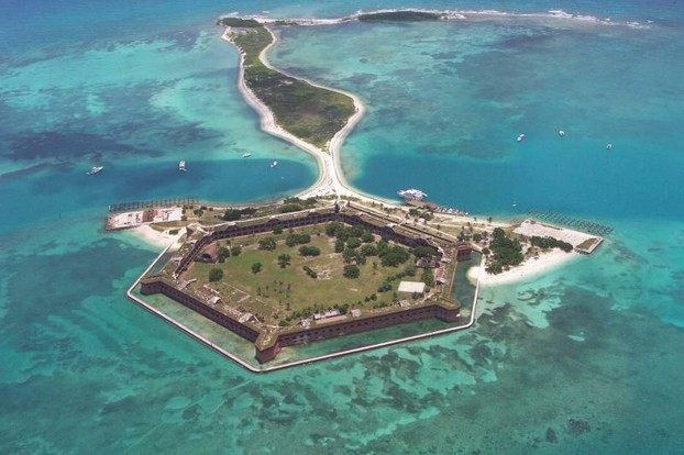 Aerial view of Fort Jefferson (looking east) at Dry Tortugas National Park