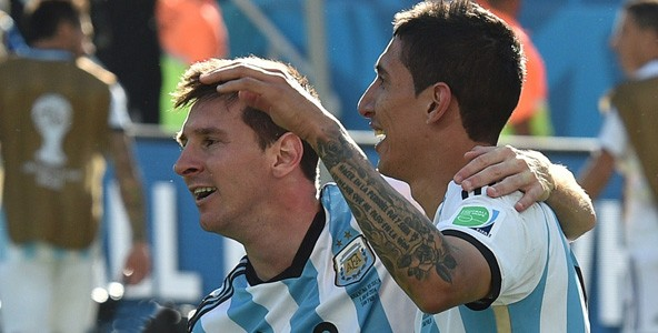 Lionel Messi and Angel Di Maria celebrate Argentina's victory