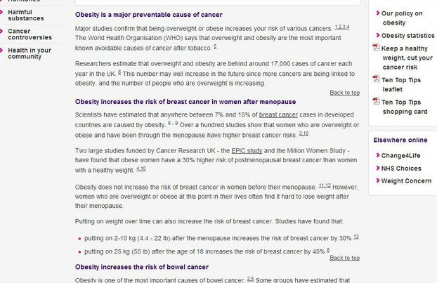 Cancer Research UK's Advice on Obesity