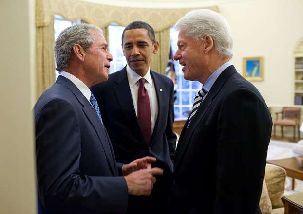 Trio of American presidents, united in concerns over 2010 Haiti earthquake, Oval Office, White House, January 16, 2010