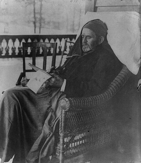"""Gen. U.S. Grant writing his memoirs, Mount McGregor, June 27th, 1885 """