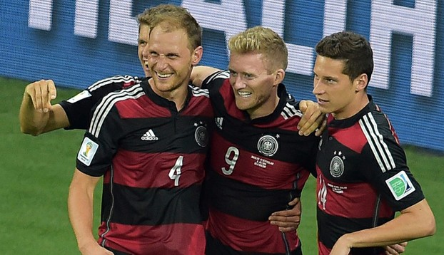 German players celebrate in their semi-final against Brazil