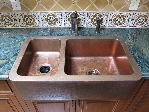 Like all other copper items, a copper sink develops a rich character over time