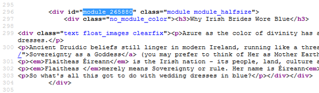 Image: Wizzley Module Identifier for Irish Blue Wedding Dresses
