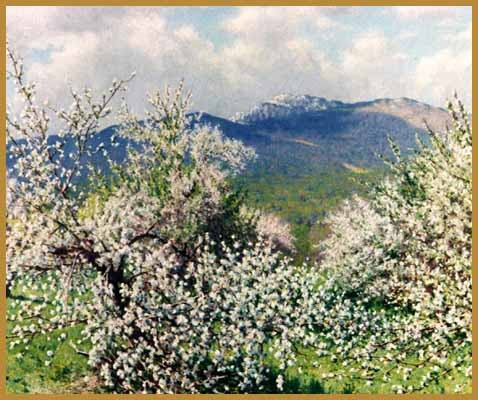 """Monadnock Orchard"": oil painting by Richard Whitney (born 1946)"