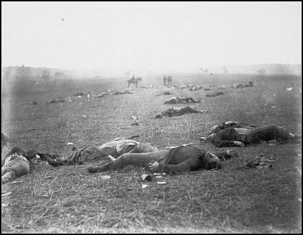 Dead Federal soldiers on battlefield at Gettysburg, Pennsylvania.