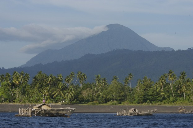 """Looking toward Gunong Tangkoko , From the sea"""