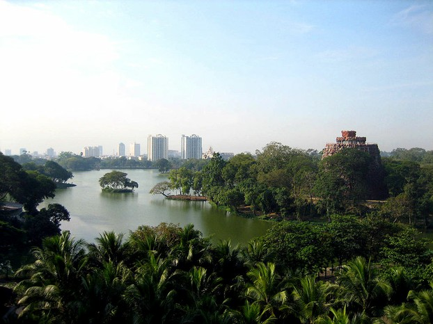 Popular park near downtown Yangon (Rangoon): Kandawgyi Lake