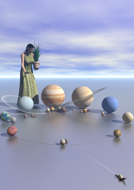 Lady Life in The Planet Garden, with circle under planets representing the sun