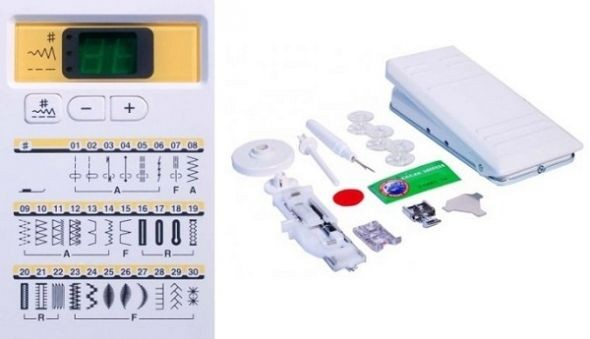 Janome 7330 Display and Accessories