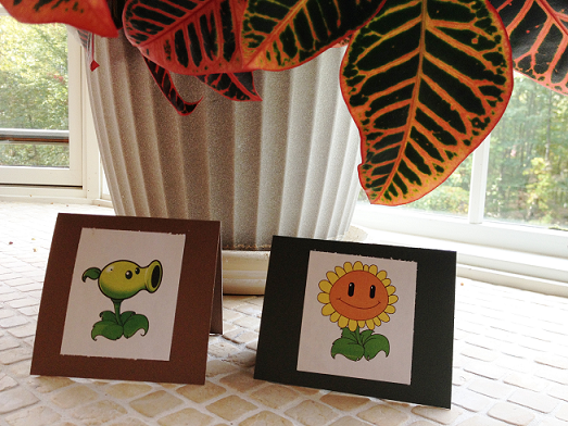 Peashooter and Sunflower Candy Buffet Cards