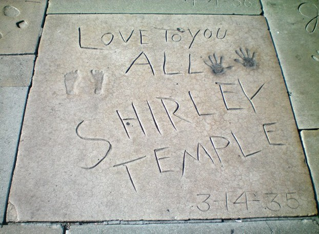 Shirley Temple's spot on forecourt of Grauman's Chinese Theatre, Hollywood, central Los Angeles, southern California