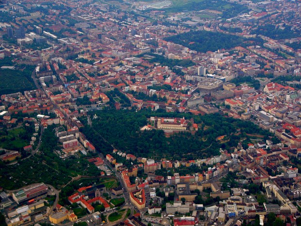 aerial photo of Špilberk Castle in Brno