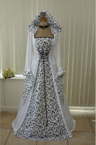 Black and White Medieval Pagan Wedding Gown