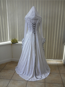 Medieval Pagan Wedding Gown Black and White
