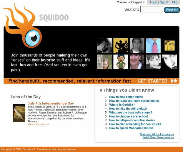 Squidoo's Homepage in 2006, Shortly After Founding