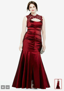 Image: Sleeveless Red Taffeta Plus Size Handfasting Gown