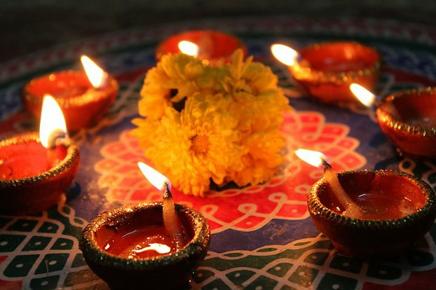 Lighted Diyas