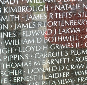 Names on the Vietnam Veterans Wall