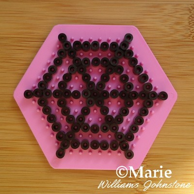 Making a spider web cobweb pattern with hama perler beads