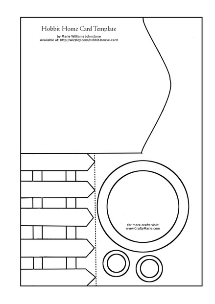 Free Hobbit home paper template for making handmade cards