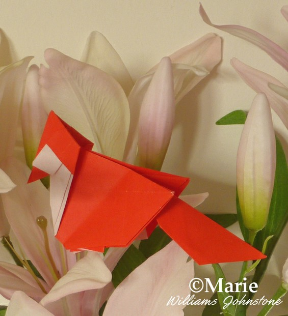 Cardinal Bird folded from a sheet of red paper as origami