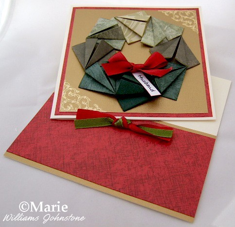 Paper Folded Tea Bag Origami Style Christmas Holiday Wreath on Card