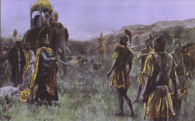 """Alexander accepts the surrender of Porus"" by André Castaigne (January 7, 1861 - 1929)"