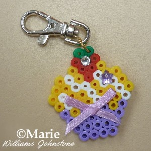 Perler Hama Bead Cupcake on a Clip Ready to Hang from a Wallet or Bag