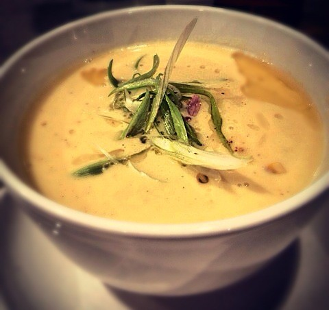 Corn chowder: charred corn, pearl onions, Yukon potatoes, bacon