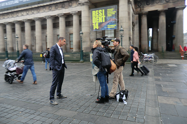Image: Media interviews in Edinburgh during the Referendum