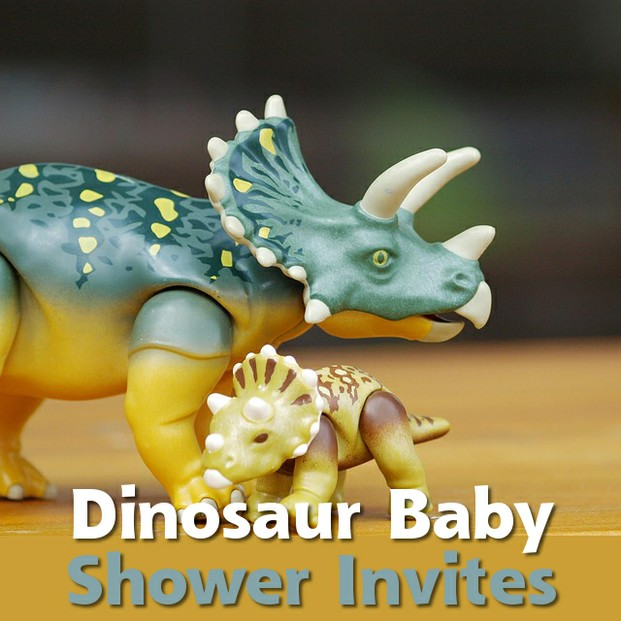 Adorably Cute Dinosaur Baby Shower Invitations