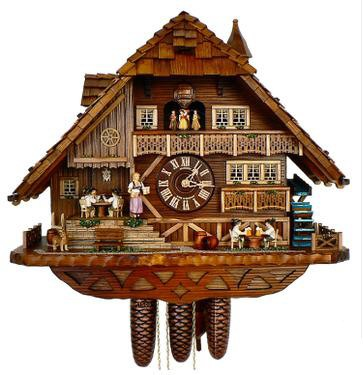 Schneider Chalet Cuckoo Clock with men playing cards