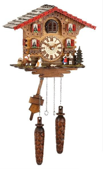 Chalet Battery-Operated Cuckoo Clock with Accordian Player and Saint Bernard