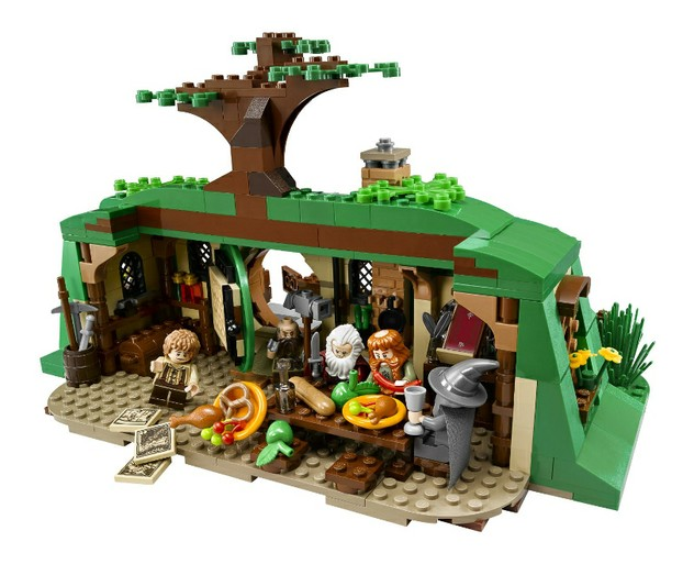 Back of the Hobbit home lego set which is cut away for easy access and play