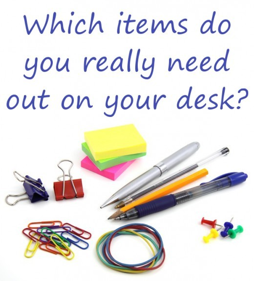 To help keep your desk tidy and clutter free, consider which items you really need to have out on the desk and which can