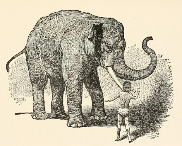 "Rudyard Kipling, The Two Jungle Books (1895), opp. p. 506: "". . . he made Kala Nag lift up his feet one after the other."""