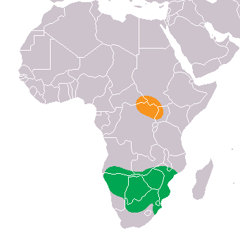 Native Range Distribution Map for Northern and Southern white rhinoceri